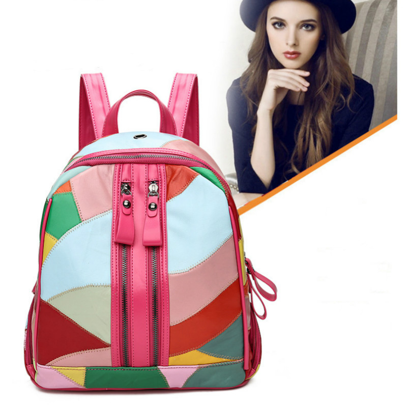 Fashion Women Genuine Leather Backpack Sheepskin Backpacks for Teenage Girls Schoolbag Patchwork Shoulder Bag Female Trave packsFashion Women Genuine Leather Backpack Sheepskin Backpacks for Teenage Girls Schoolbag Patchwork Shoulder Bag Female Trave packs