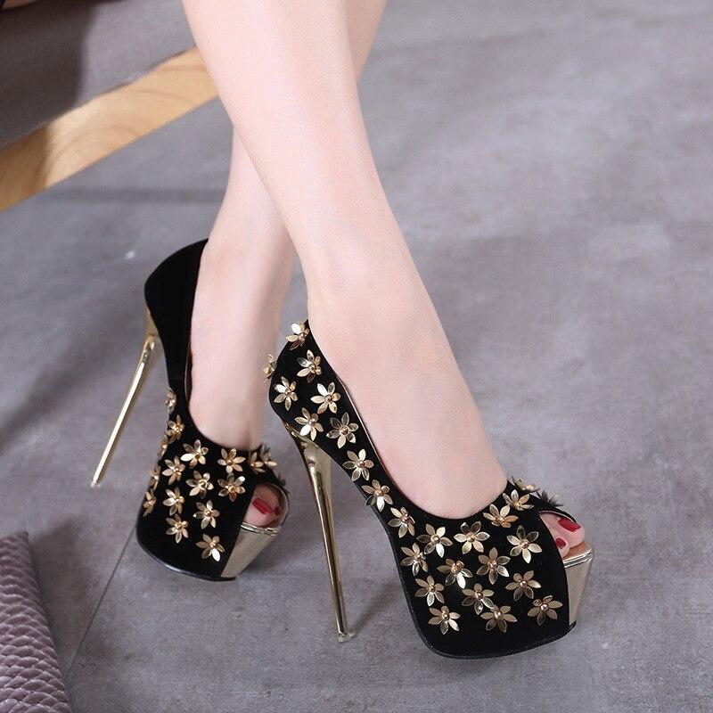 ФОТО New High Heels Women Shoes Thin Heel Pumps Sexy Poop Toe Metal Flowers Basic High Heel ladies Shoes Sapatos Femininos De Salto