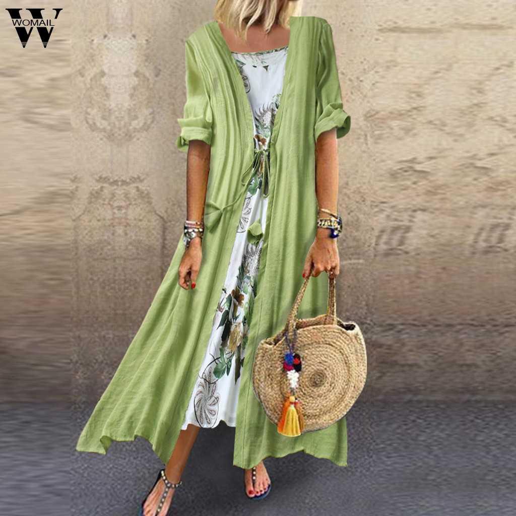 Womail קיץ שמלות נשים 2019 נשים בציר Boho O-צוואר פרחוני הדפסת תחרה שני חלקים 3/4 שרוול שמלת Loose שמלה ju8