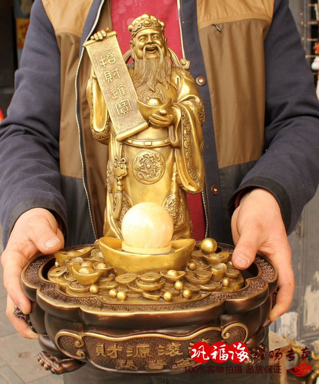 2019 home LIVING ROOM protective efficacious Mascot Money Drawing the god of wealth Fortune bronze statue sculpture Decoration