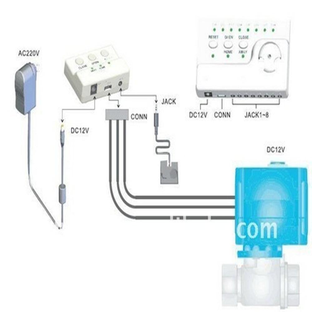 HIDAKA 100dB Home Security Alarm Water Leak Detector with Motion 6m Sensor & BSP NPT valve & Eu Plug US Plug(DN15&2pcs Valves )