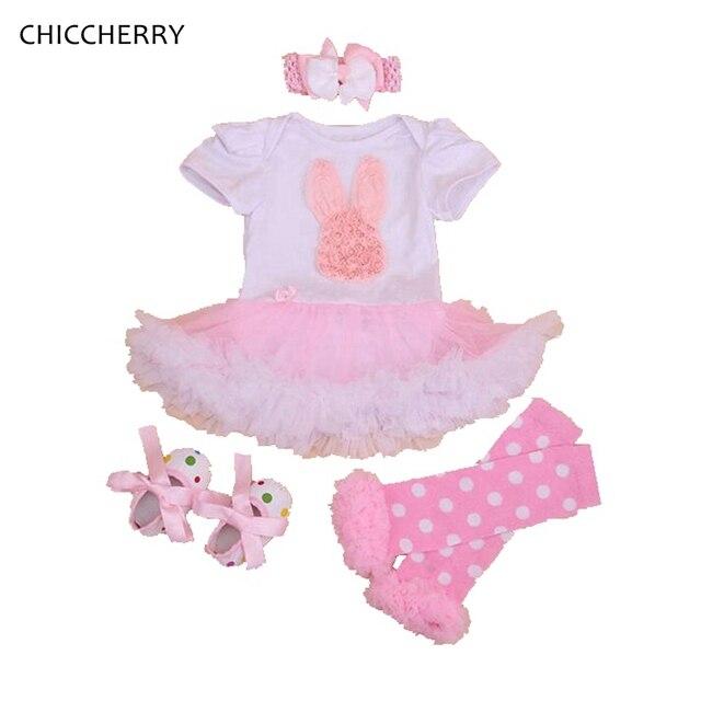 Розовый Пасхальный Кролик Наряды Кружева Ползунки Кролик Dress Младенческой Туту Повязка Вязаные Гамаши Установить Vestidos Bebe Малышей Девушка Одежда