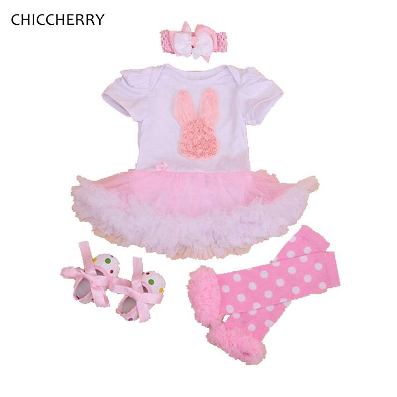 Pink Baby Easter Bunny Outfits Lace Romper Rabbit Dress Infant Tutu Headband Legwarmers Set Vestidos Bebe Toddler Girl Clothes