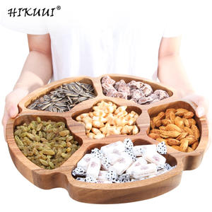 HIKUUI Wooden Food Kitchen Nut Snack Candy Storage Tray