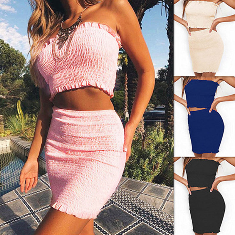 Sexy Women Crop Top + Skirt Set Pleated Midi Skirt Bodycon Club Party Two-Piece Suit H9