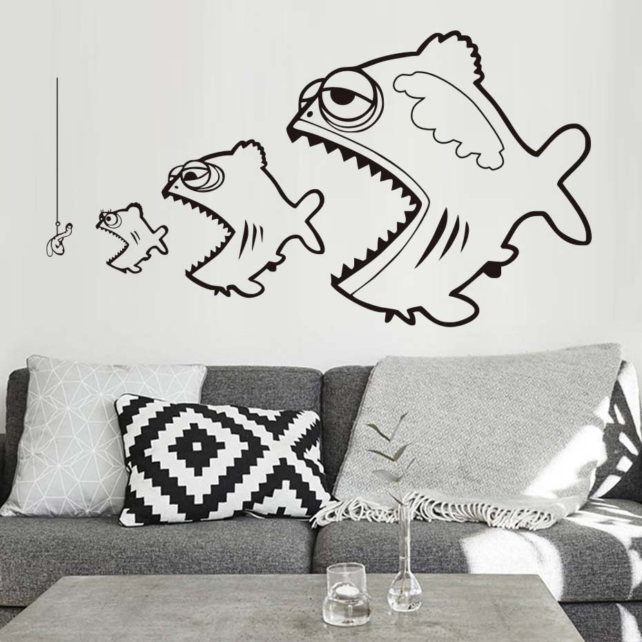 Aliexpress Buy Fishing Wall Stickers For Kids Room Bedroom