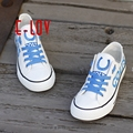 Indianapolis Football Painted Shoes Colts Football Team Canvas Shoes Royal Blue White Logo Graffiti Casual Shoes For Men