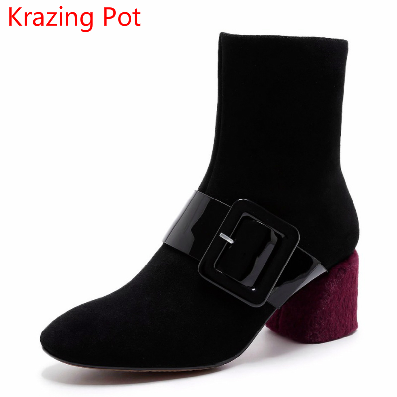 2018 Fashion Genuine Leather Metal Buckle Mixed Colors Thick Heels Superstar Winter Boots Round Toe Women Mid-calf Boots L99 2018 new vintage mid calf women boots square thick high heels pointed toe martin boots genuine leather winter shoes for women
