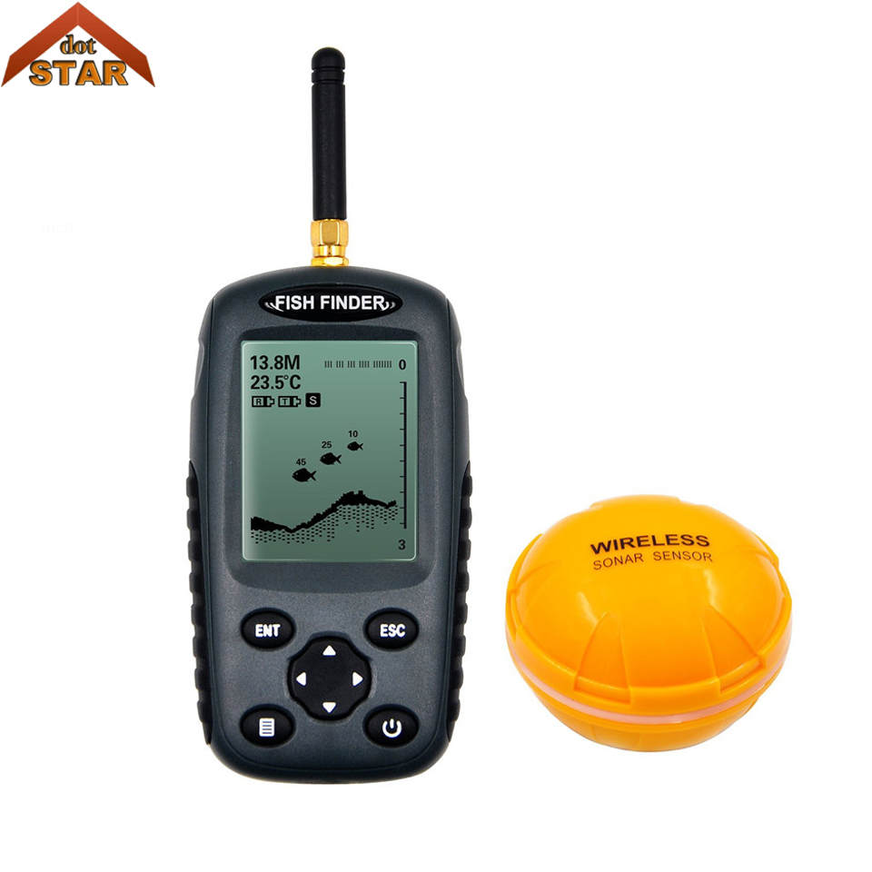 Fish finder Russian menu Rechargeable Waterpoof Wireless Fishfinder Sensor 125kHz Sonar echo sounder Fishfinder цена 2017