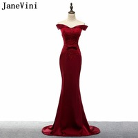 JaneVini Burgundy Off Shoulder Mermaid Mother of the Bride Dresses for Weddings Party Beaded Evening Gowns Groom Godmother Dress