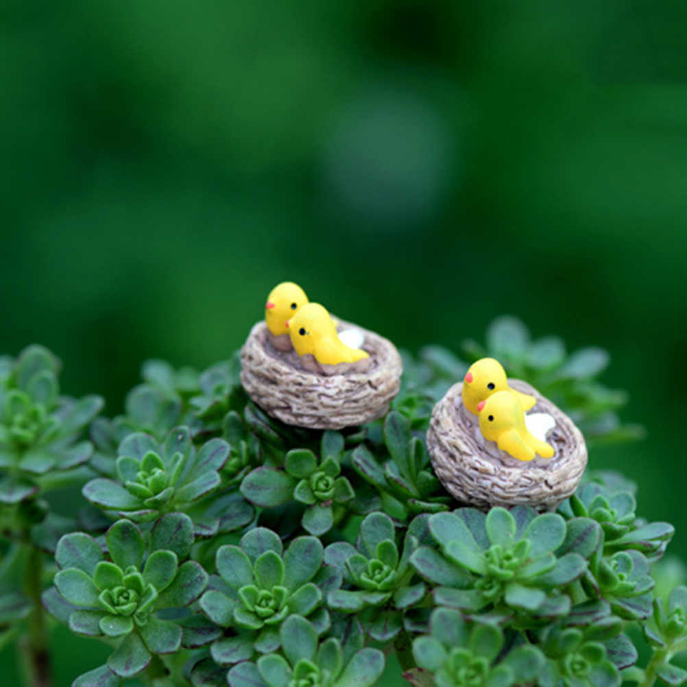 DIY Mini Nest with Birds Fairy Garden Miniatures Gnomes Moss Terrariums Resin crafts figurines For Home garden Decoration