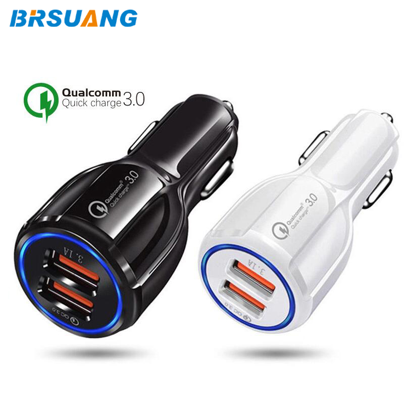 50 unids/lote BRSUANG QC 3,0 2 puertos USB de carga rápida cargador de coche para teléfono móvil para iPhone Samsung Huawei Xiaomi Google Oneplus, Etc.
