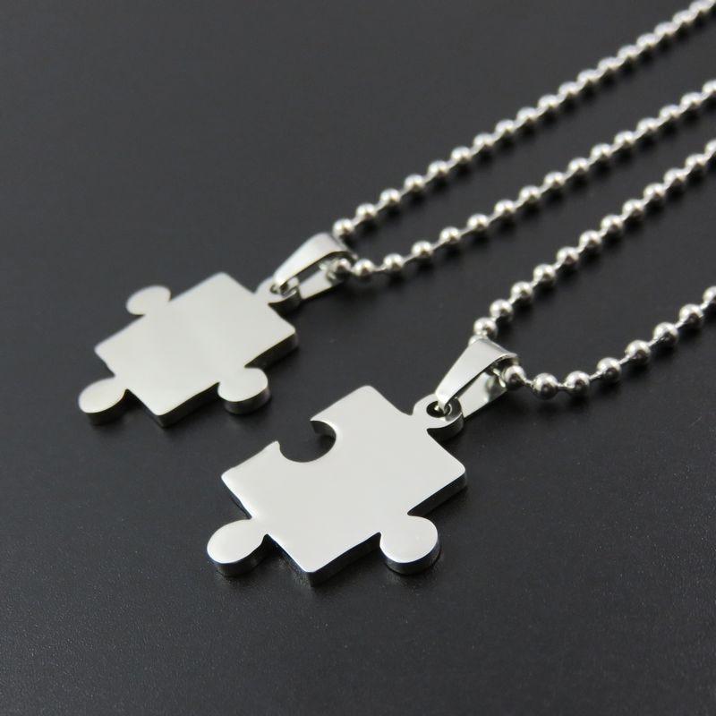 Edelstahl Liebe Herz Halskette Anhänger DIY Logo Puzzle Anhänger Fashoin Paar geliebten Schmuck Erkenntnisse-in Anhänger aus Schmuck und Accessoires bei  Gruppe 1