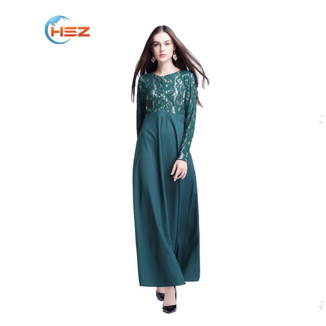 Nueva Elegante Encaje Sólido Vestido Abaya Musulmán Vestido Abaya Musulmán ropa Islámica para Las Mujeres Abaya de La Manera Ropa de Las Mujeres Turcas