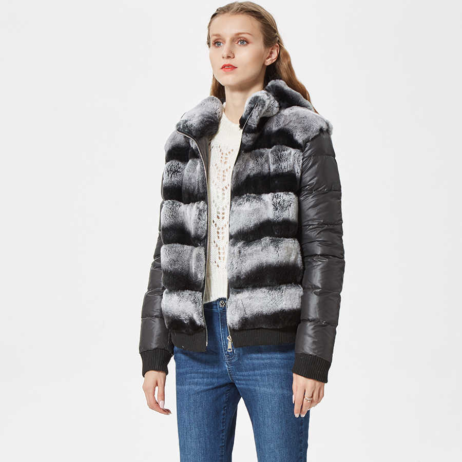 b768ce0b2e8 ... Натуральный короткая кролика рекс пальто с мехом женские зимние натуральный  Меховая куртка с меховым капюшоном fanshion ...