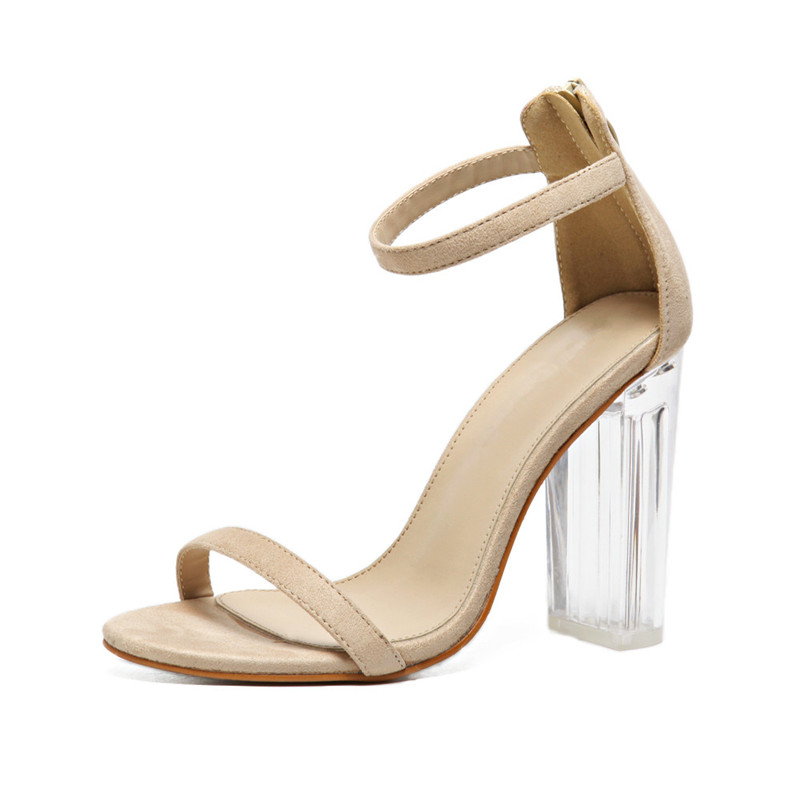 33a663e9244 DRFARGO 10cm PVC Clear Transparent Crystal Block Heels Women Summer Faux  Suede Ankle Strap Sandals Narrow Band Mujer Zapator 40-in High Heels from  Shoes on ...