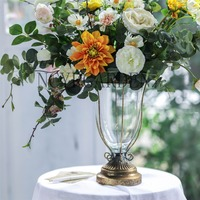 Wrought Iron European Classical Vase Desktop Glass Flower Vase Tabletop Decoration Wedding Creative Ornaments Iron Planter Pot