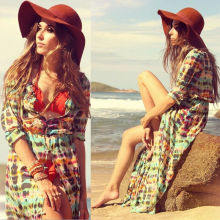 USA Women Summer Boho Long Maxi Casual Party Dress Beach Chiffon Tunic Sleeve