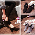 2017 Spring/Autumn Ankle Boots Women Medium Heel Leather Women's Ankle Boot Fashion Short Martin Shoes pointed toe pumps dress