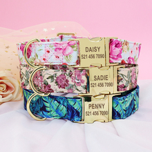 Personalized  Dog Collar Nylon Tag Collars Fashion Floral Printed Pet ID Customized Nameplate for For Medium Large Dogs