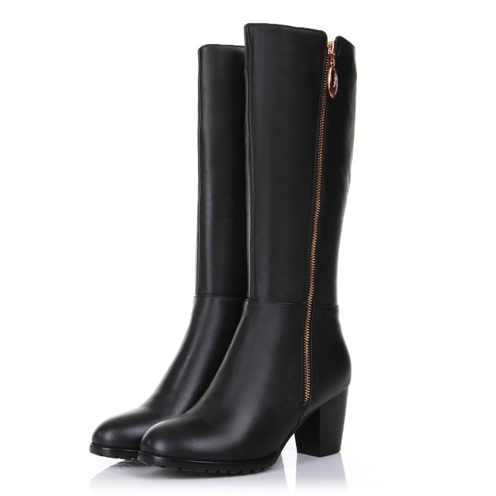 Free Shipping 2017 Full Grain Leather winter woman riding Knee-high boots round toe High-heeled boots shoes Large size 31-45 2015 buckle women full grain leather ankle boots platforms strange style shoes round toe spike high heeled motorcycle boots