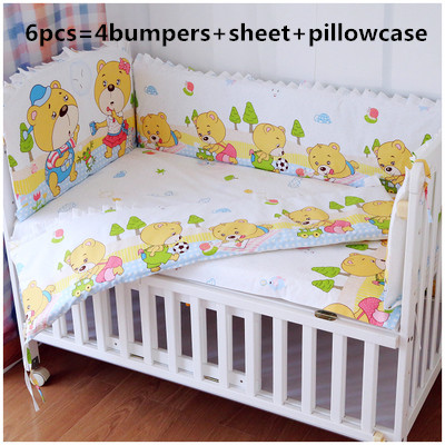 ФОТО Promotion! 6PCS Baby bedding sets 100% cotton baby bedclothes Cartoon crib bedding set (bumpers+sheet+pillow cover)