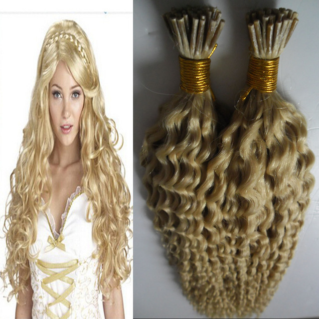 613 Bleach Blonde Fusion Hair Extensions 100g Kinky Curly Keratin