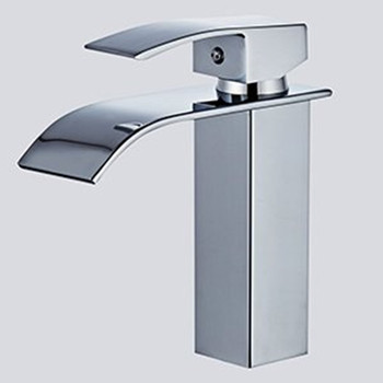 Single Handle Waterfall Bathroom Vanity Sink Faucet with Extra Large Rectangular Spout 1/2 Inches Hoses Chrome Finish