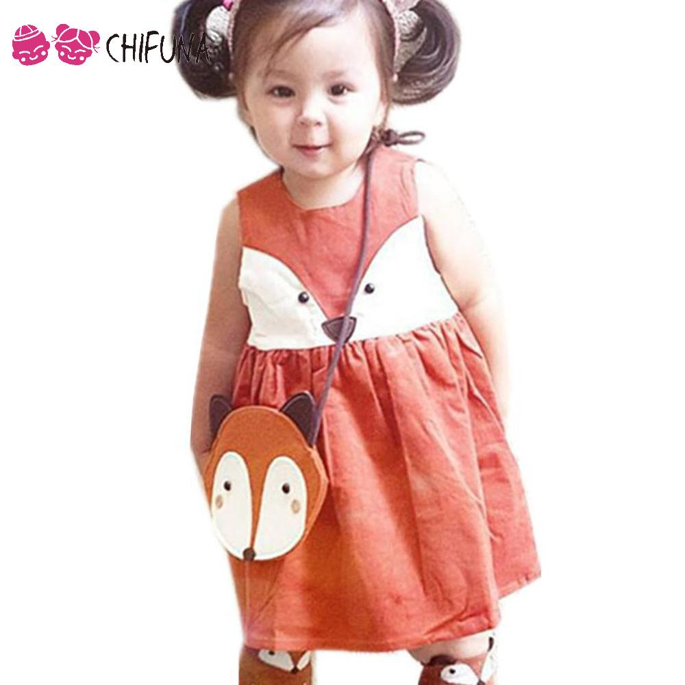 New 2016 High Quality Girls Dress Cotton Sweet Girls Sleeveless Cute Fox Children Dress Kids Clothes Girls Princess Dresses