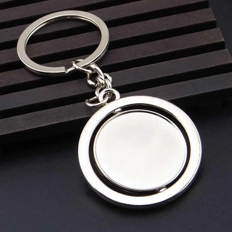 Llavero redondo giratorio de 360 grados de Metal de doble cara personalizado LOGO llavero hombres regalos Simple llaveros personalizados Trinket D0813