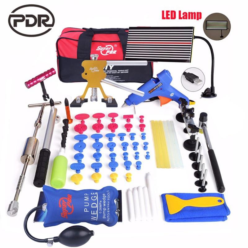 PDR ammaccatura auto kit di strumenti di riparazione Paintless Dent Removal tool set slide hammer dent lifter HA CONDOTTO LA lampada Riflettore Consiglio FAI DA TE utensili a mano