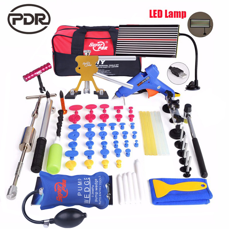 PDR car dent repair tools kit Paintless Dent Removal tool set slide hammer dent lifter LED lamp Reflector Board DIY hand tools pdr dent lifter removal hand tools slide hammer sl 005