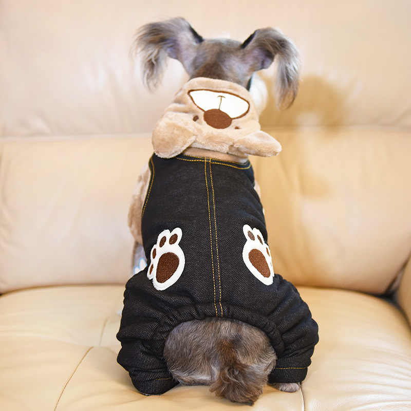 Gomaomi Pet Cat пальто тренировочный костюм для собак Джинсы толстовка с капюшоном маленькая Средняя зимняя одежда для собак свитера