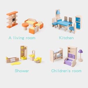 Image 3 - Ruizhi деревянный миниатюрный мебельный набор имитация дома кукольный домик аксессуары детские развивающие игрушки Детский подарок на день рождения RZ1077