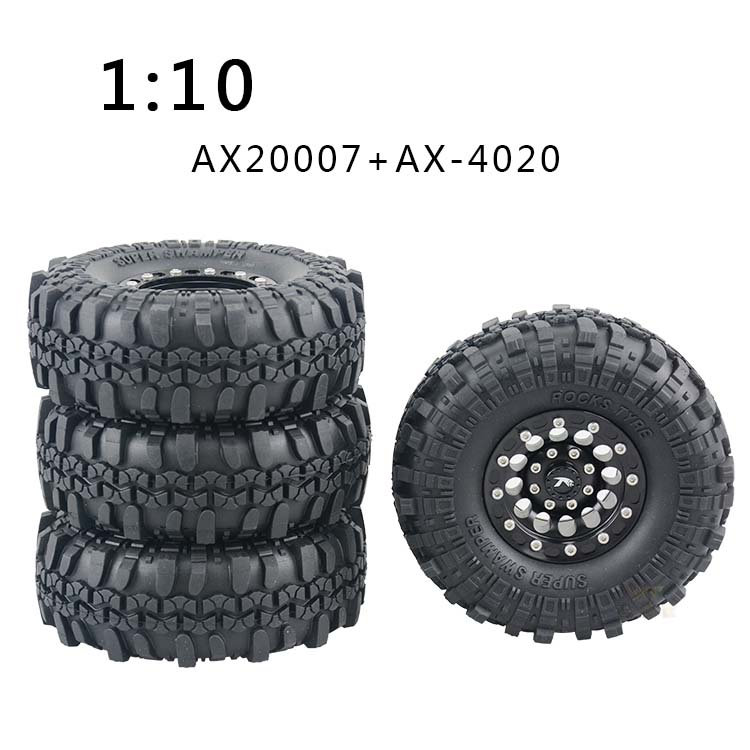 4PCS 1.9 Inch Wheel Tyre 105mm Black Rubber Tires On/Off Road Grip Tire for 1:10 RC Rock Crawler AX2007/AX4020/SCX10/AX10 Cars 4pcs rc crawler truck 1 9 inch rubber tires