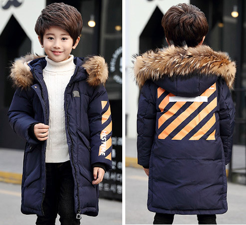 Children's down jacket long style Korean version of heavy coat leisure fashion medium long style korean style hooded coat