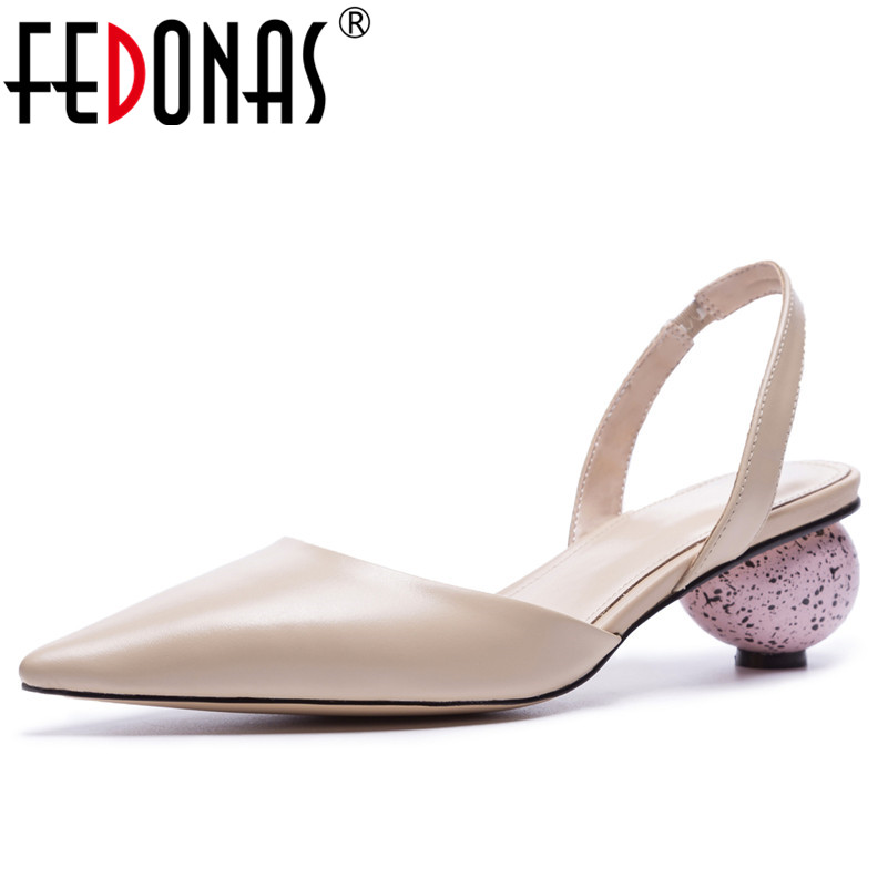 FEDONAS 2020 Fashion Summer Women Sandals Pumps High Heels Genuine Leather Shoes Woman Sexy Stiletto Party