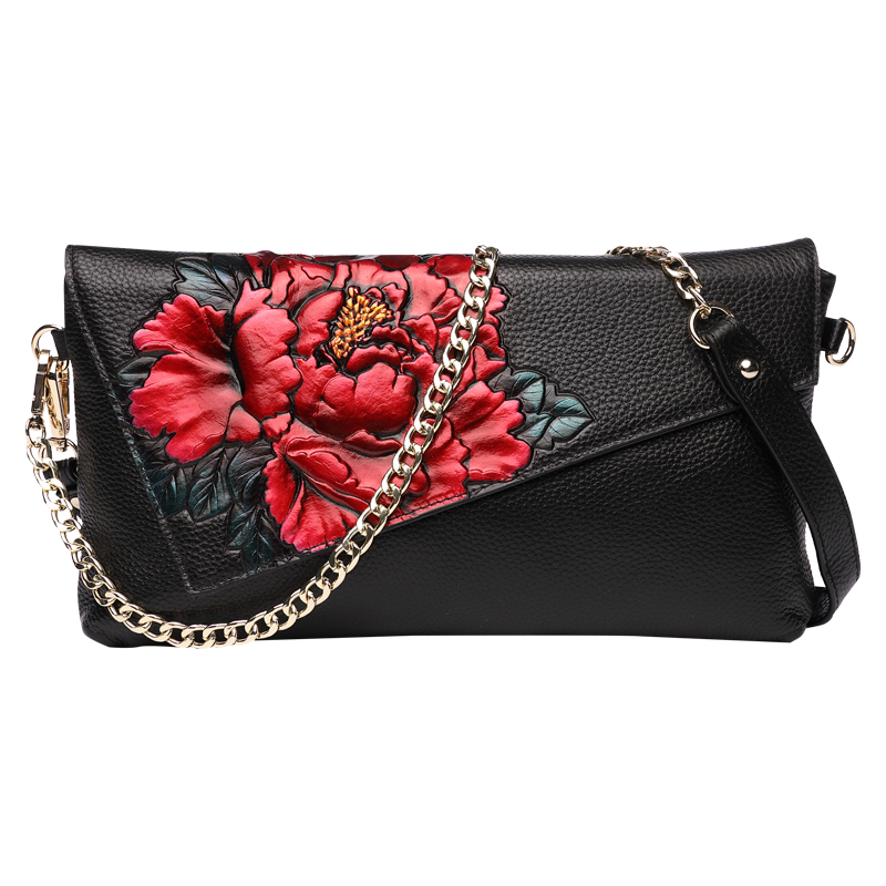 Vintage Peony Embossing Women's Genuine Leather Clutches Clutch Wallet Long Purse Banquet Handbag Shoulder Evening Bag Wristlet vintage serpentine genuine leather woman clutches evening bag crossbody chain shoulder bag handbag clutch wallet lady long purse