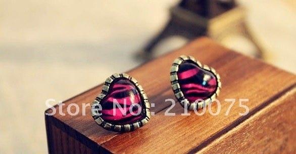 Retro hotsale Charming colorful Retro fashion charm pearl rhinestone leopard heart multi layer  earing gift free shipping E2051