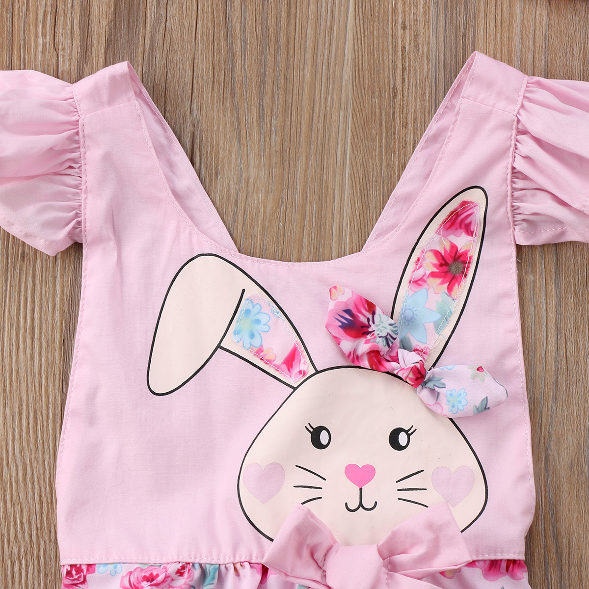 6008dd4e4d63 2018 New Easter Floral Romper Newborn Baby Girl Bunny Romper Flying ...