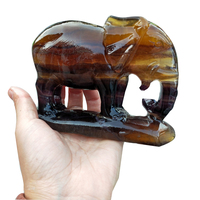 Natural Crystal Elephant Carving Fluorite Elephant Crystal Stone Crafts Ornament Home Office Desktop Decor Gift