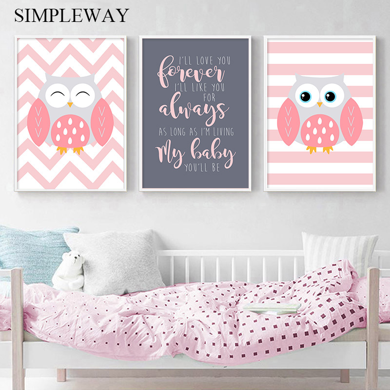 Us 1 36 45 Off Pink Owl Child Poster Canvas Wall Art Nursery Quotes Print Painting Nordic Kid Decoration Picture Baby Pregnant Room Decor In