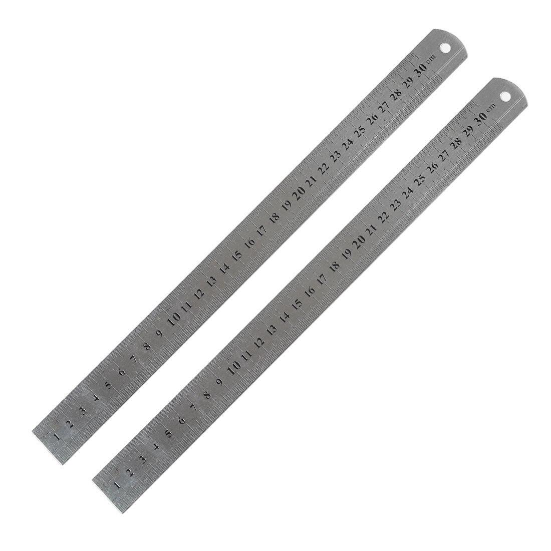 2 Pcs Metric 30cm Stainless Steel Straight Ruler Measuring Tool 12