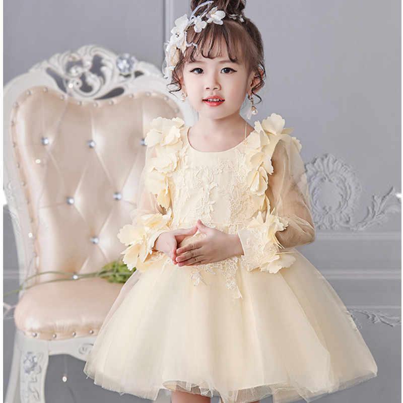 b446ac6ca88 ... Платье для девочек осень-зима Детские платья с длинными рукавами  кружевное платье с цветочным рисунком