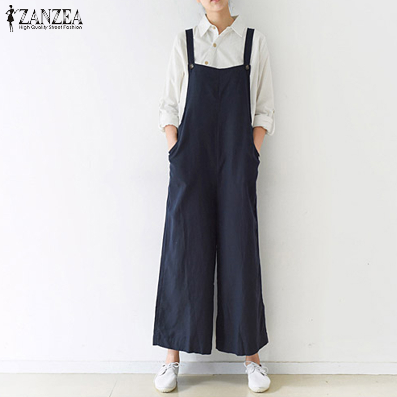 5XL ZANZEA Women Summer Cotton Linen Overalls Jumpsuits Strappy Sleeveless Loose Rompers Casual Dungarees Solid Wide Leg Pants