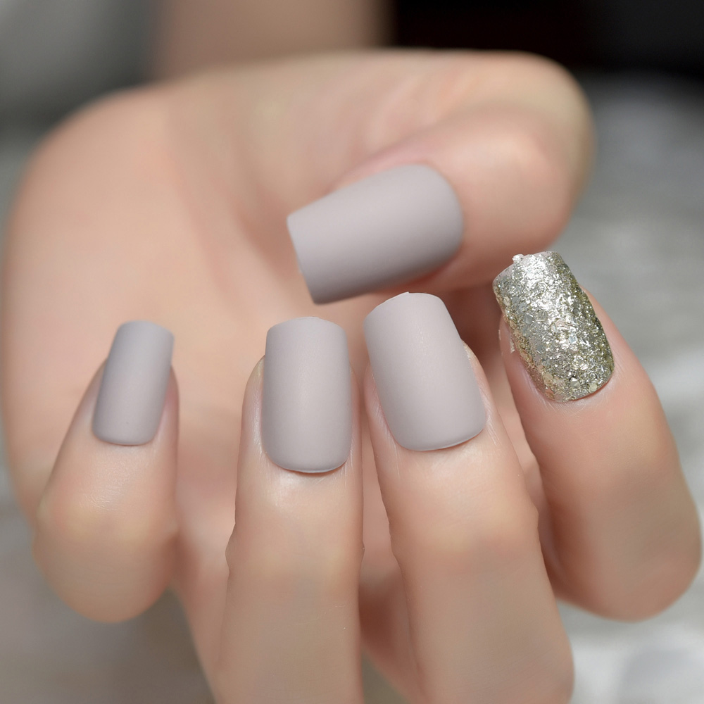 Light Gray Matte False Nails Medium Square French Acrylic Nails For