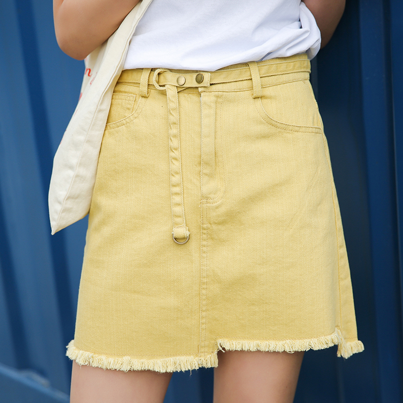 Aliexpress.com : Buy Ladies Jeans Skirt Yellow white Button Sexy ...