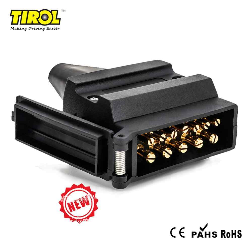Tirol 12 PIN Trailer Flat Male Plug T25488b Australia 12 V Caravan Adapter dengan Selubung PVC Sinyal Lampu Display Connector