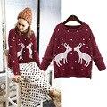 Рождественский свитер женщин лося трикотажные печати Свободные Длинным Рукавом один размер Свитера Тянуть Femme SBK2-8