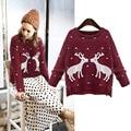 Christmas sweater pullover mujeres elk impresión Suelta de Manga Larga un tamaño de punto Suéteres Tire Femme SBK2-8